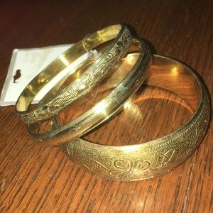 Jewelry - 3 brass plated boho floral HIPPIE bangles new OSS